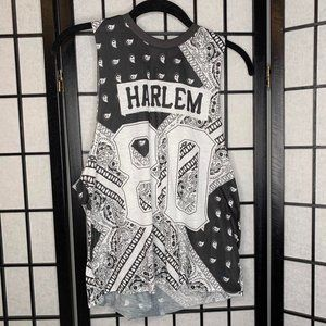 Harlem Muscle Tank Top Black White Small